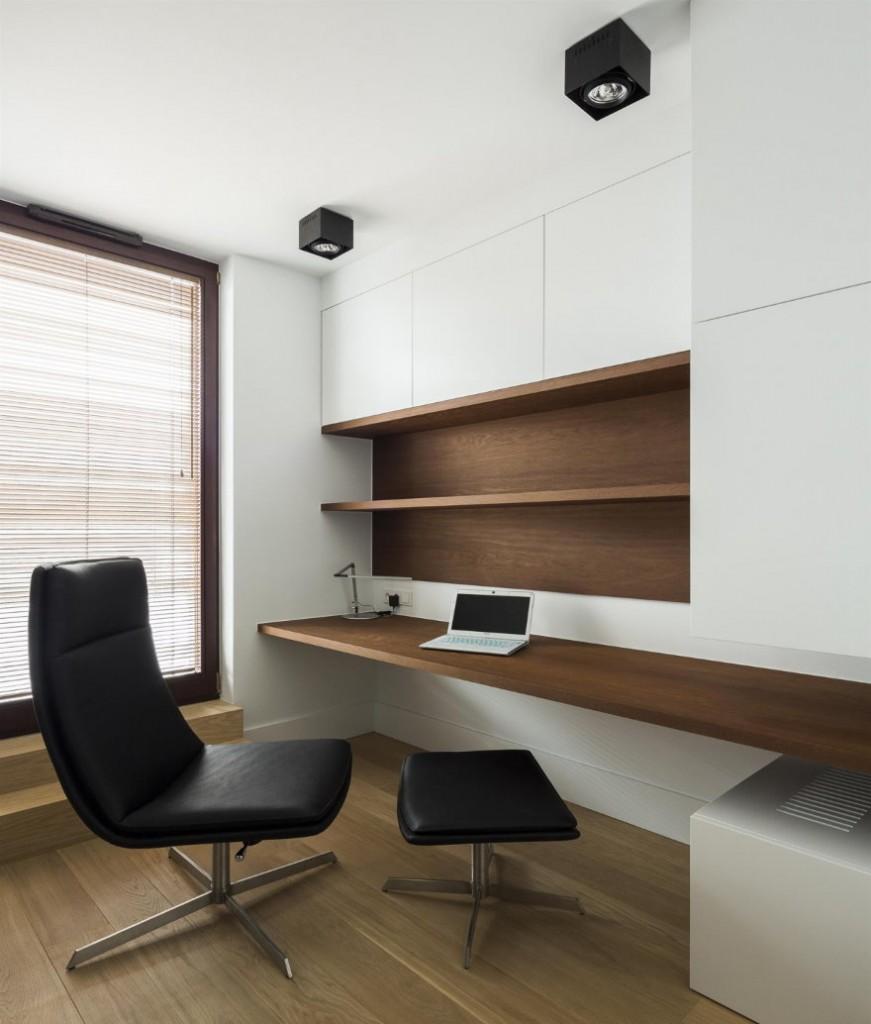 Стильное место для работы в современной гостиной