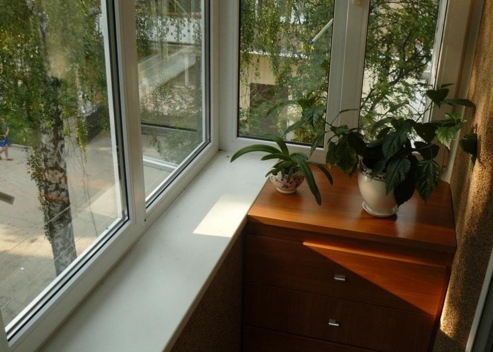 Пластиковые окна на балконе с домашними цветами