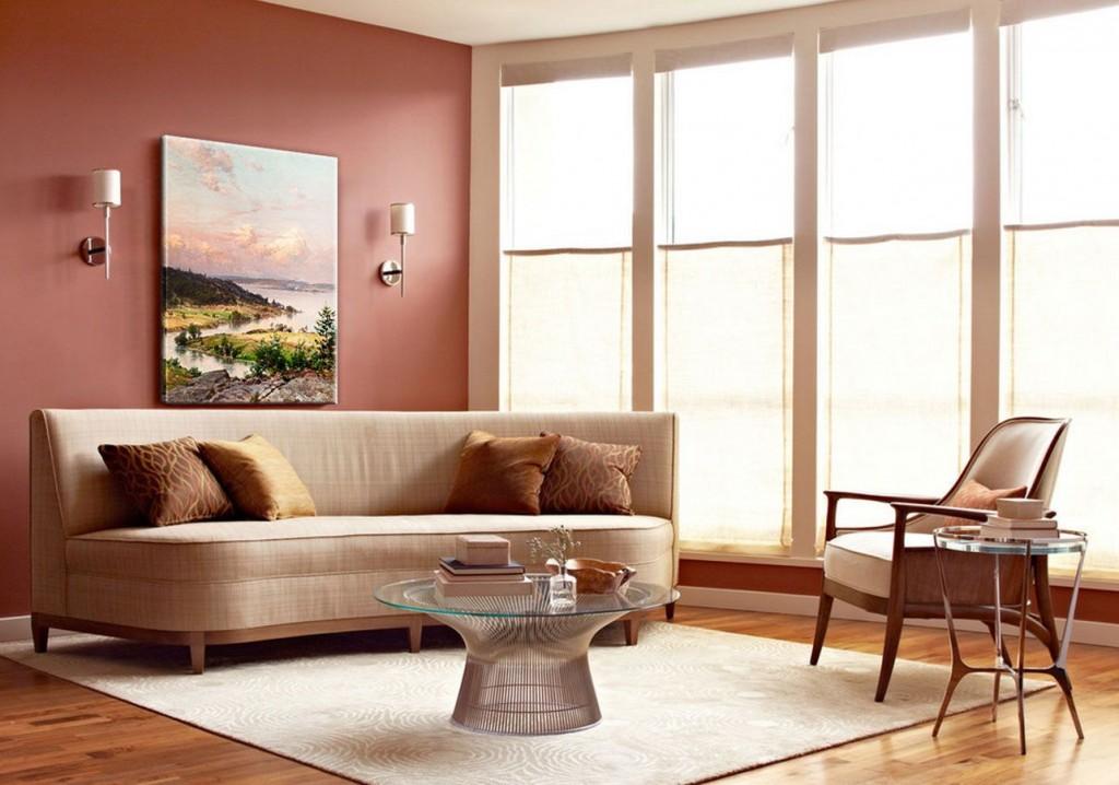 Зонирование ковром гостиной с большим окном
