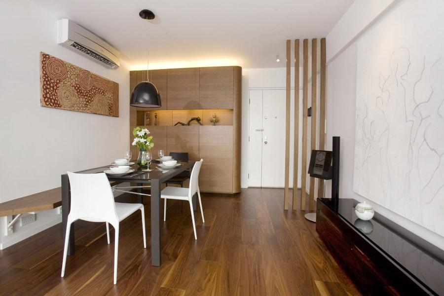 Пример расстановки мебели в минималистической квартире-студии