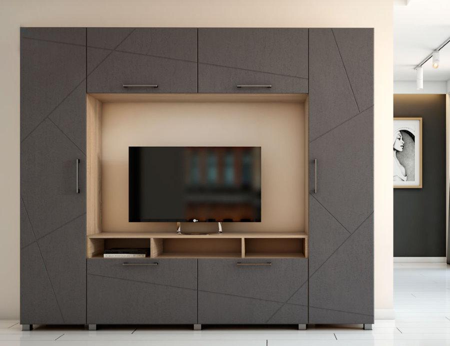 Серая стенка с местом под телевизор
