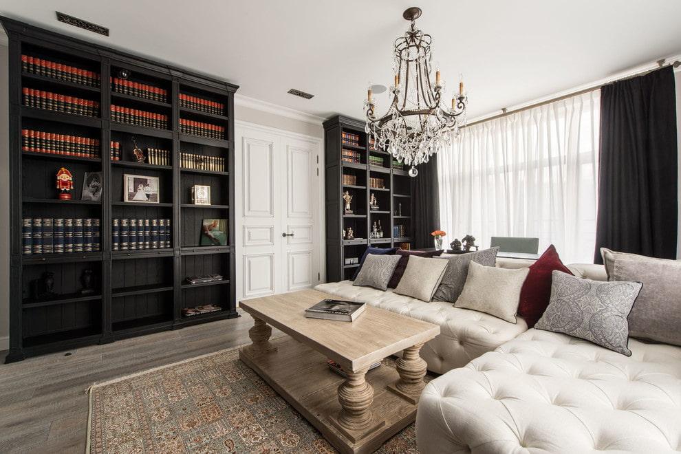 Встроенные шкафы для хранения книг в гостиной
