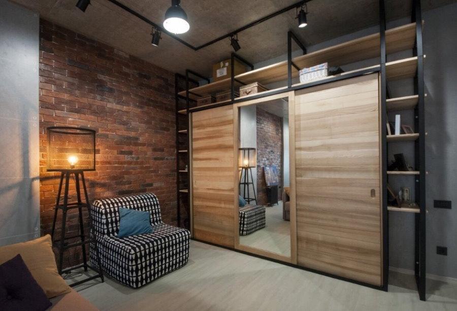 Купейный шкаф для гостиной в стиле лофт