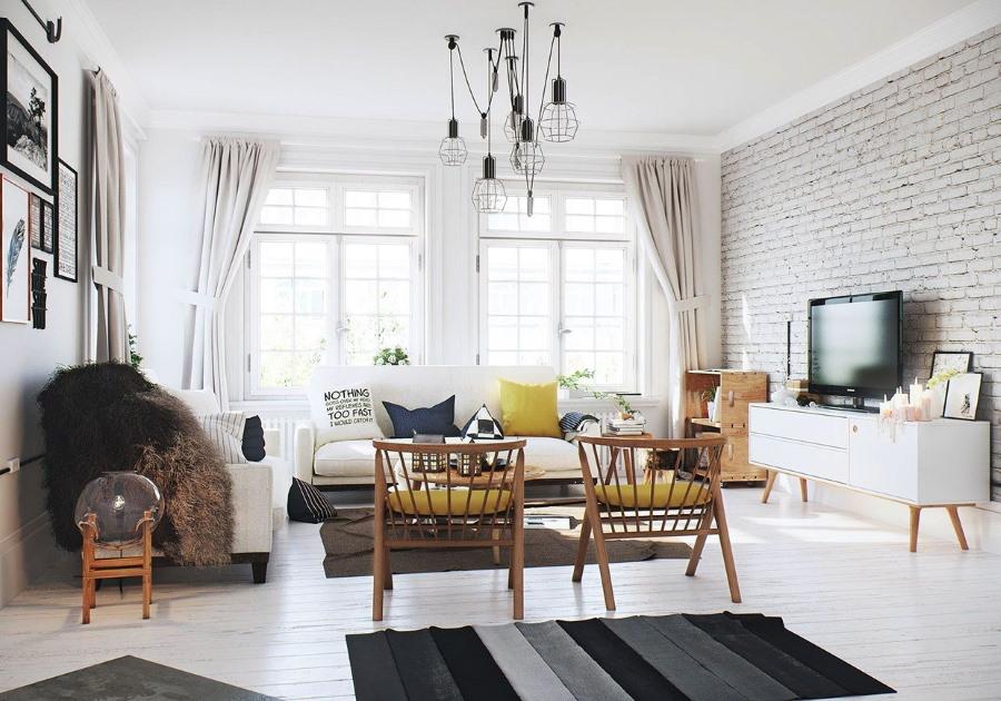 Деревянные стулья в гостиной скандинавского стиля
