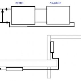 Схема подсоединения радиатора отопления на балконе