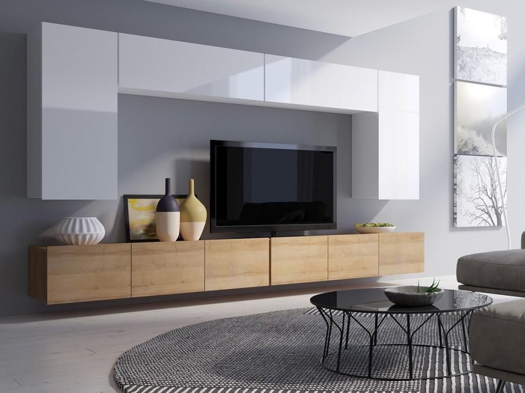 Корпусная мебель с фасадами из ДСП для гостиной