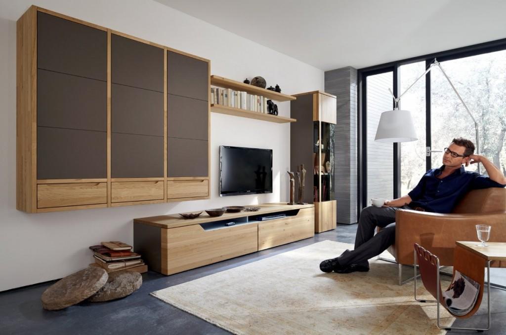 Мебель из массива натурального дерева в гостиной