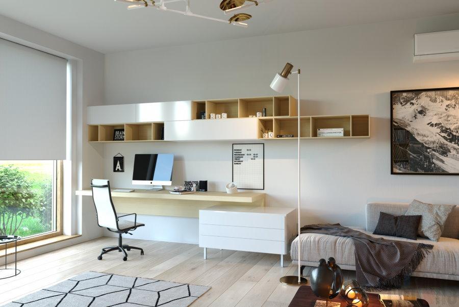Функциональная мебель в гостиной с рабочим местом