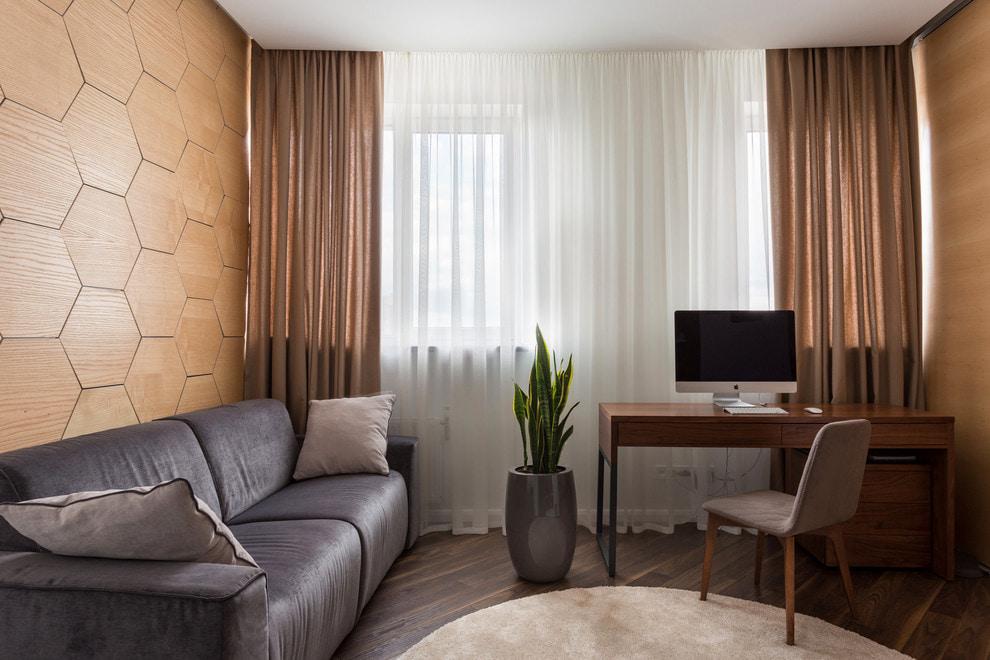 Коричневые занавески в гостиной стиля минимализм