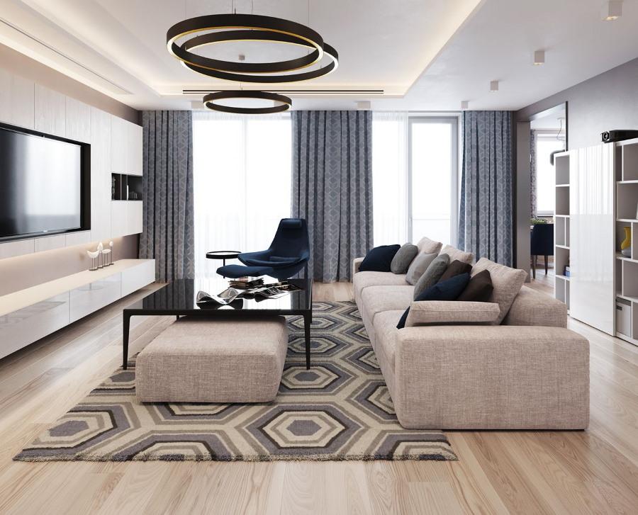 Геометрический рисунок на ковре в зале
