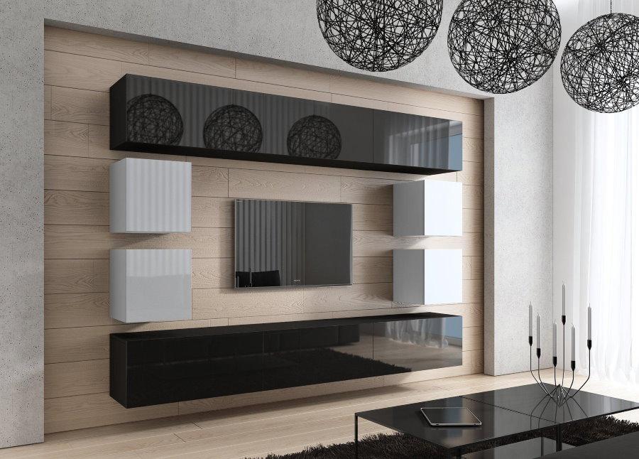 Контрастные фасады навесных шкафчиков в гостиной