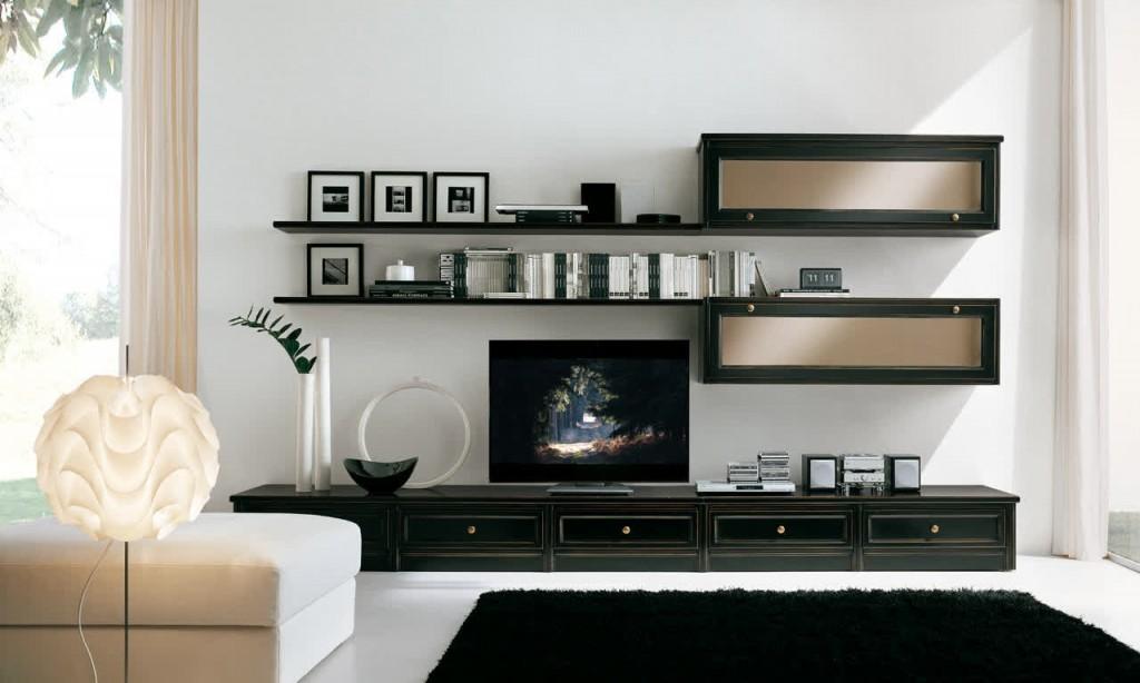 Декор гостиной с мебельной стенкой