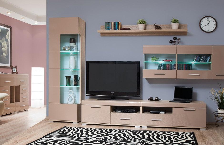 Мебельная стенка с местом для хранения посуды