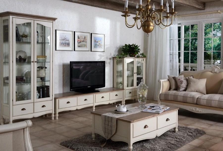 Стенка в стиле прованс в гостиную комнату