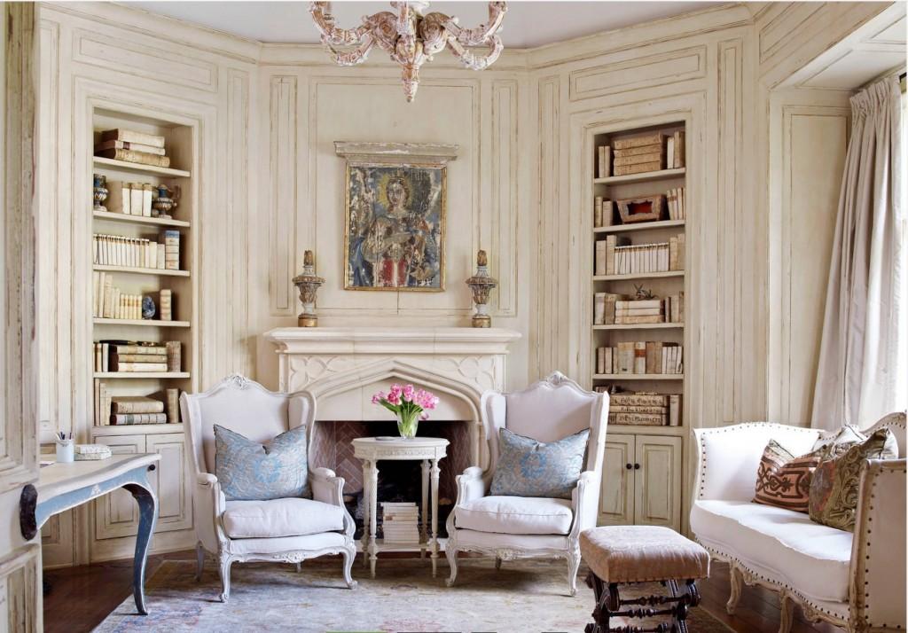 Встроенная мебель в интерьере романтической гостиной
