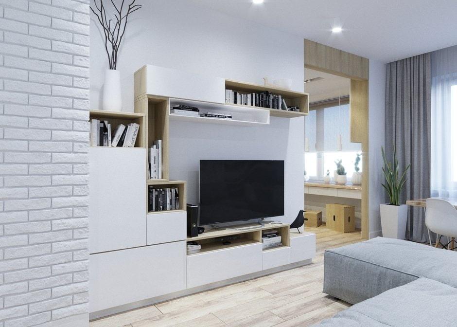 Белая стенка в гостиную скандинавского стиля