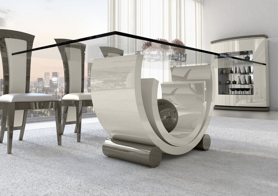 Оригинальный стол в гостиной стиля авангард