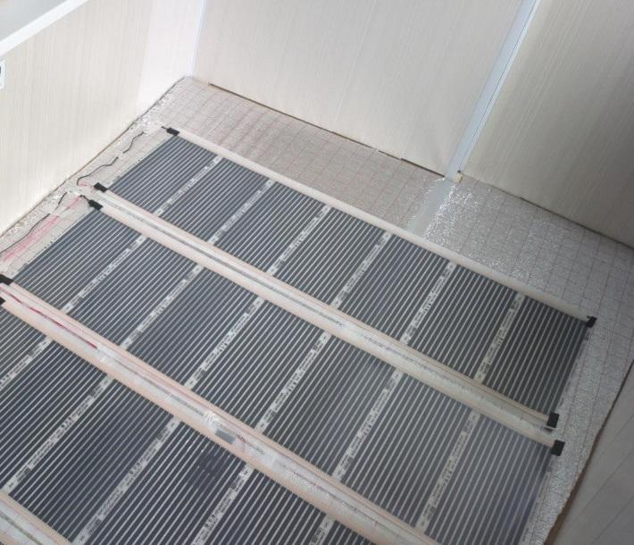 Маты системы теплого пола на застекленном балконе