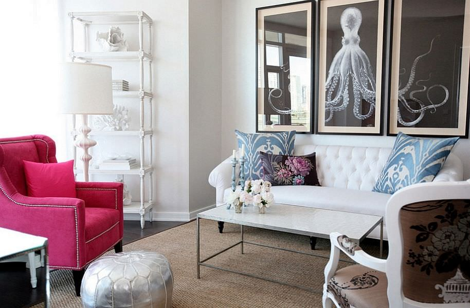 Модульная картина с осьминогом над диваном в зале