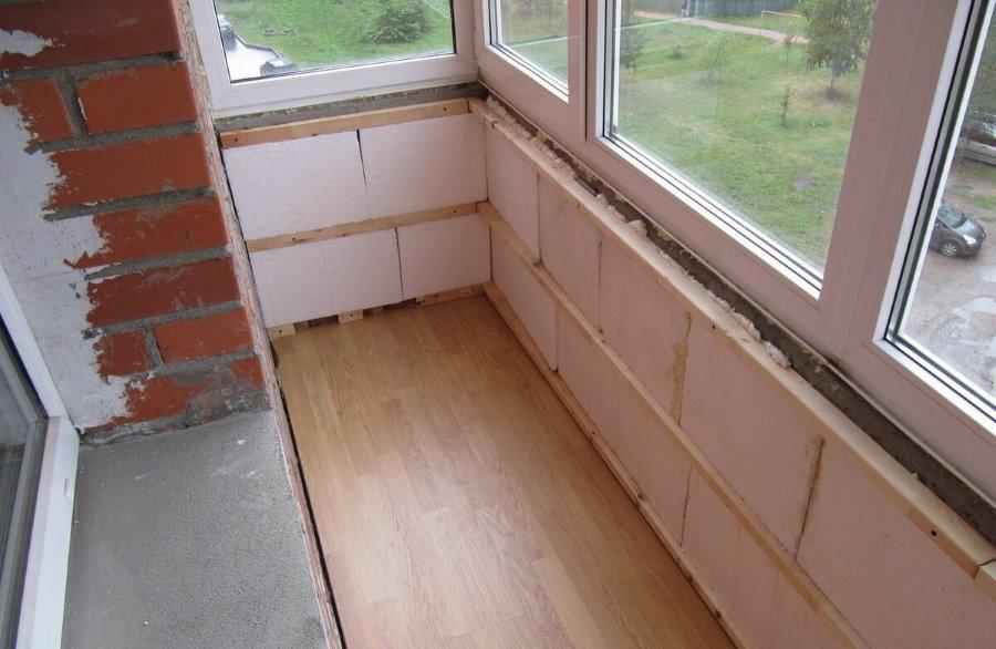 Утепление полистиролом стен на закрытом балконе