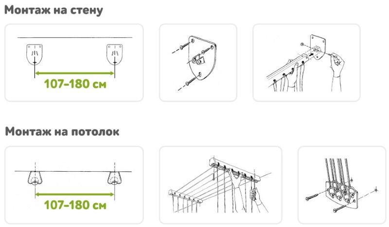 Варианты монтажа сушилки для белья на балконе