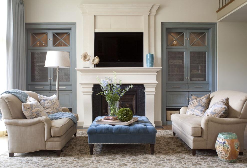 Декор гостиной комнаты в современном стиле интерьера