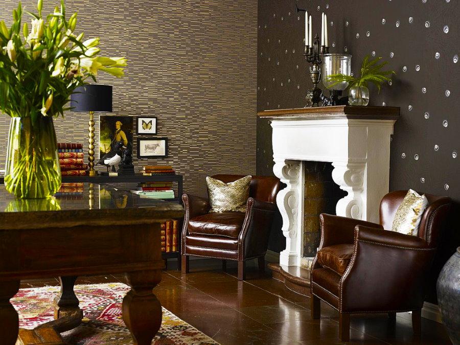 Сочетание обоев в гостиной классического стиля