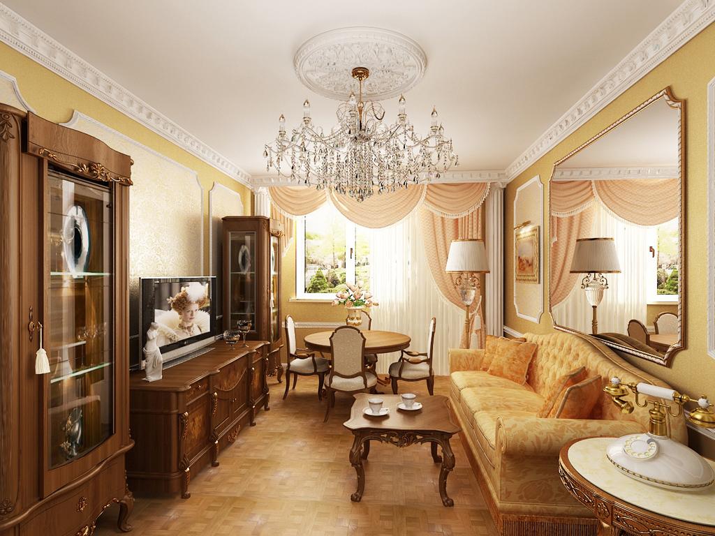 Шкафы-витрины в небольшой гостиной классического стиля