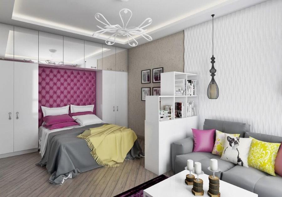 Зонирование однокомнатной квартиры отделкой стен