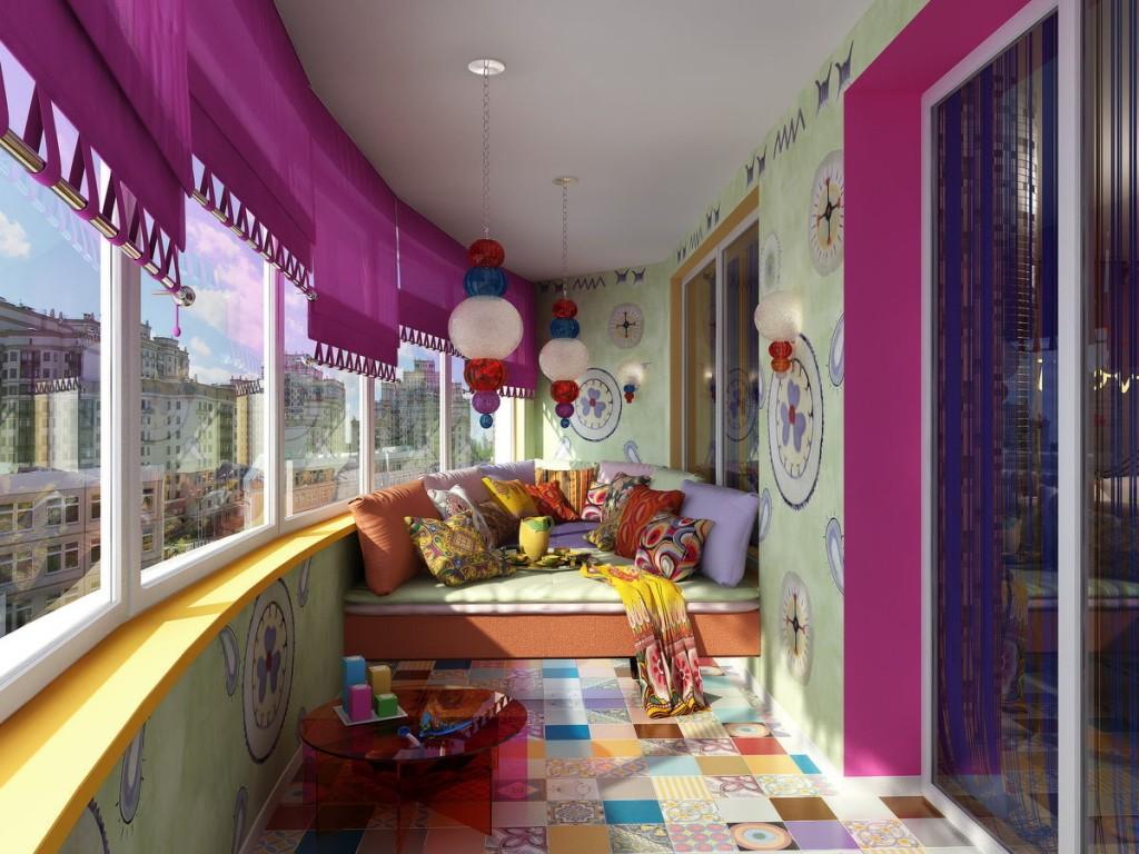 Дизайн застекленного балкона в восточном стиле