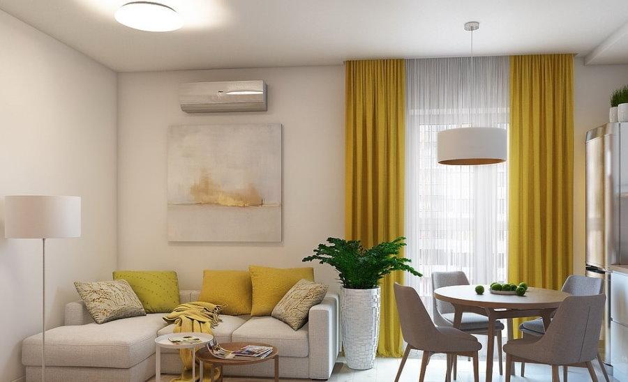 Желтые акценты в бежевой квартире