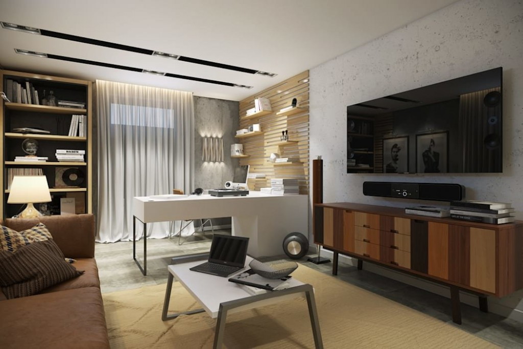 Большой письменный стол в просторной гостиной