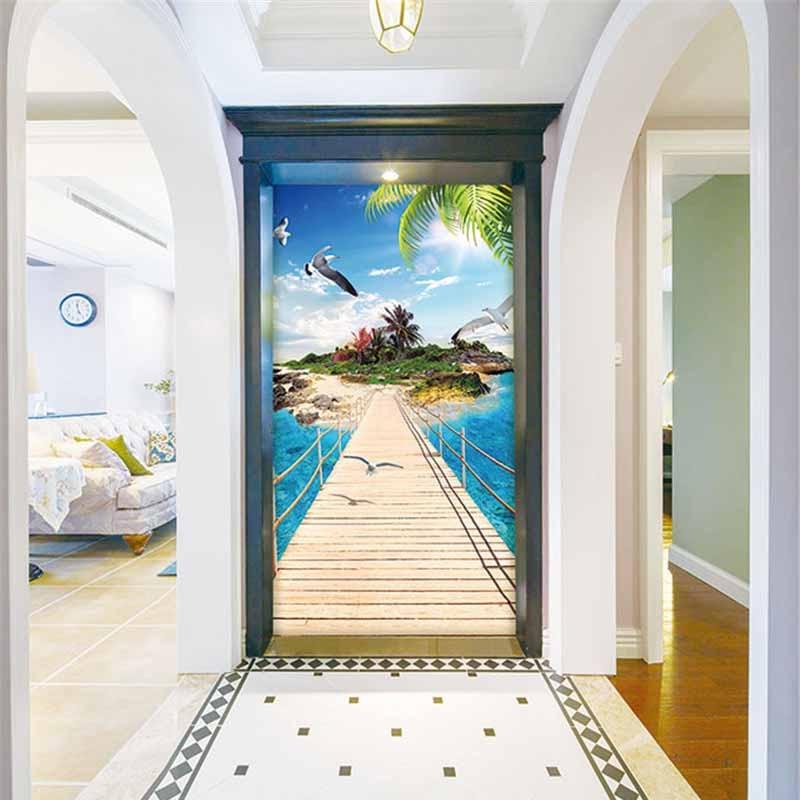 Белый коридор с трехмерными фотообоями
