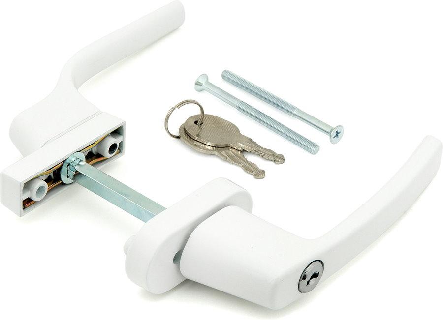 Белая двусторонняя ручка с замковым механизмом