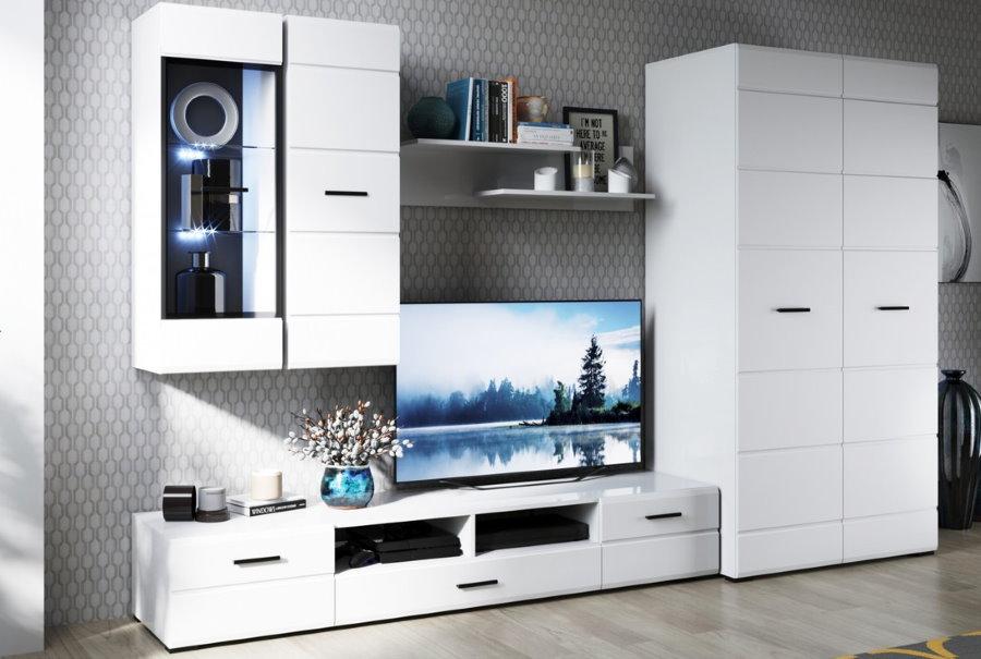 Белая стенка со шкафом и тумбой под телевизор
