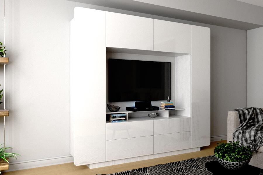Белая стенка с нишей для ТВ-панели