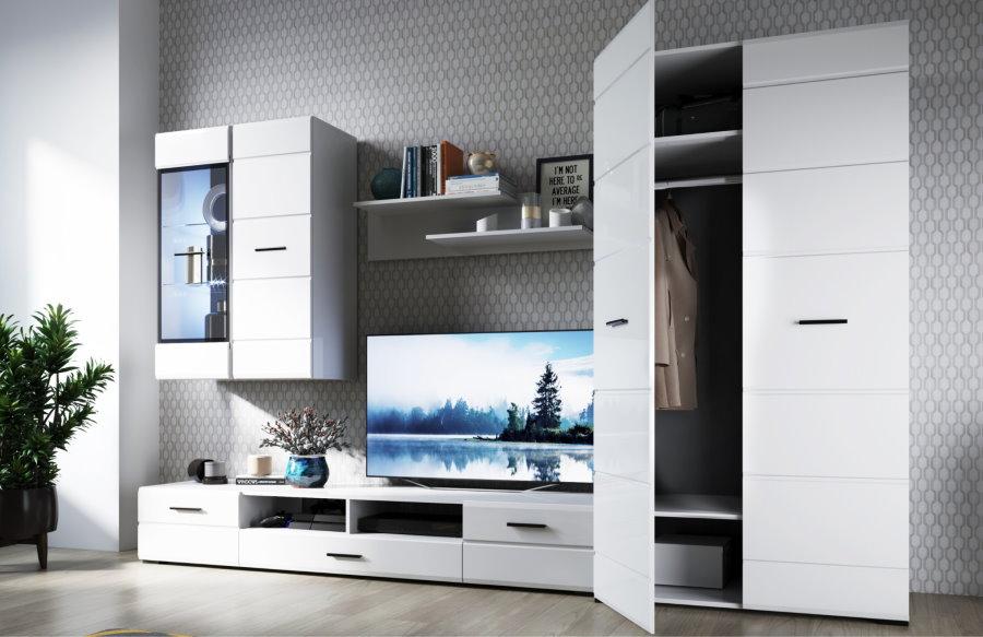 Белый шкаф в комплекте мебельной стенки