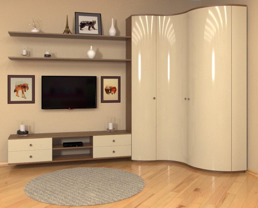 Бежевый угловой шкаф в гостиной комнате