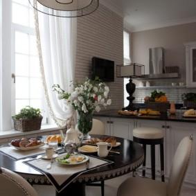Зонирование барной стойкой кухни-столовой