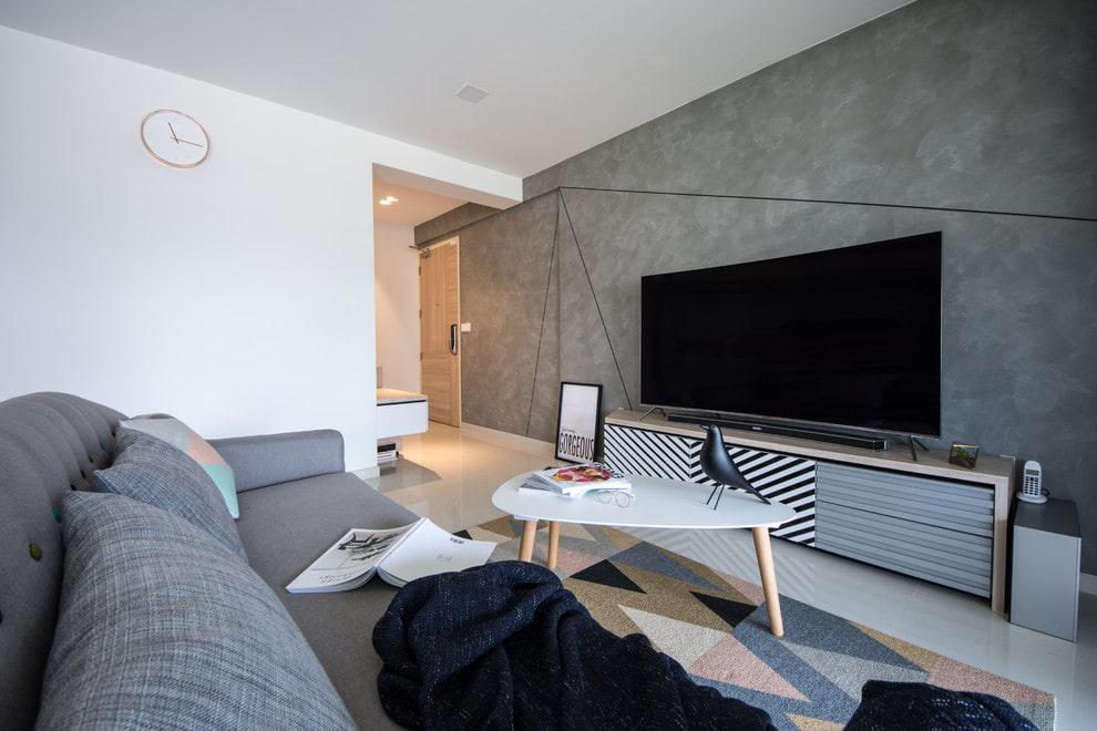 телевизор с большой диагональю в интерьере гостиной