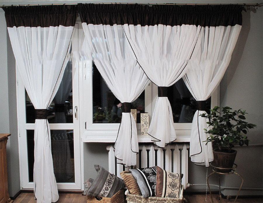 Современные шторы черно-белой расцветки
