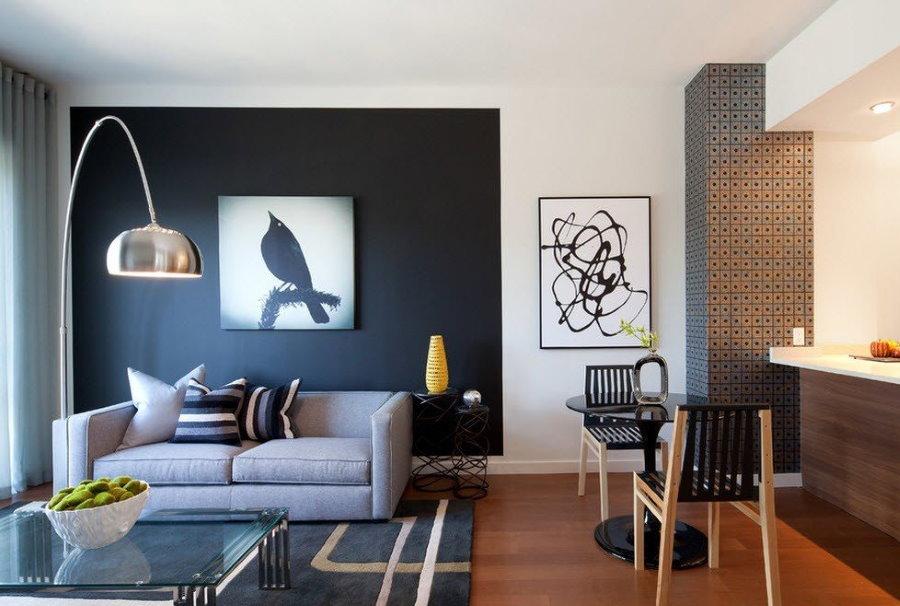 Зонирование цветом квартиры свободной планировки