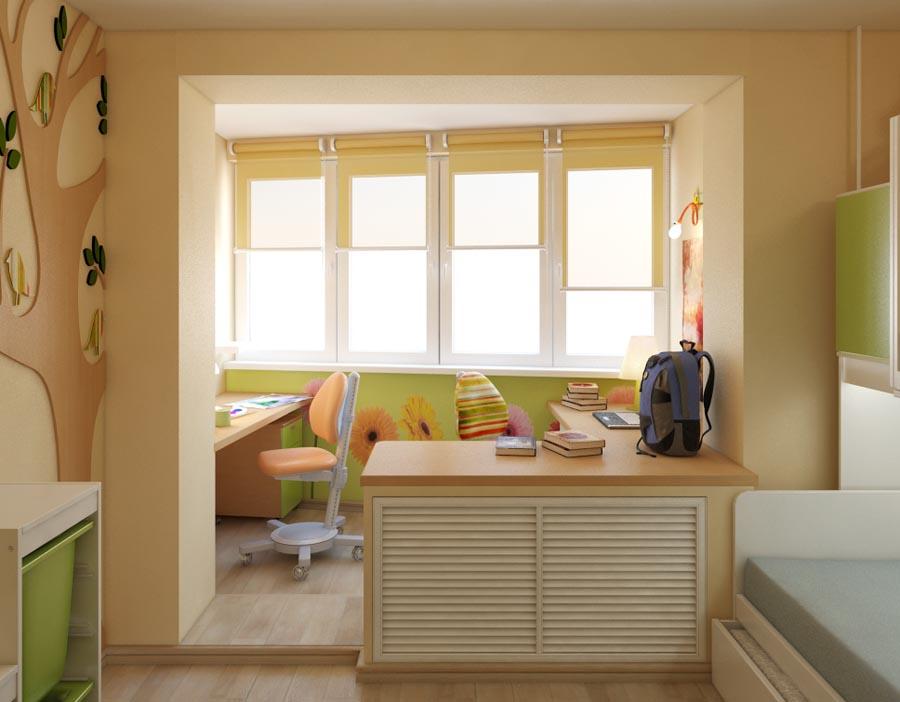 Оформление детской комнаты с утепленным балконом