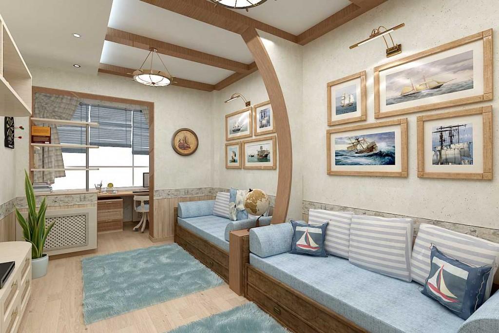 Дизайн детской комнаты с балконом для двоих