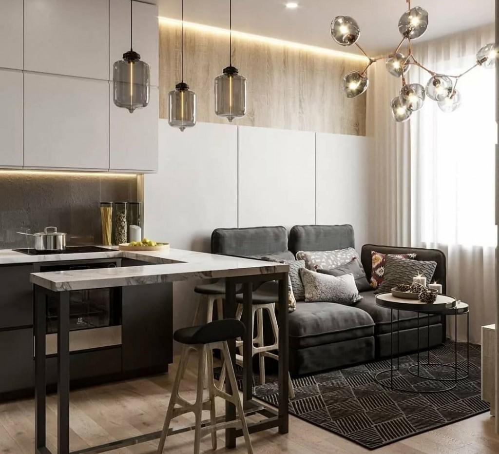 Небольшой диванчик на кухне в двушке