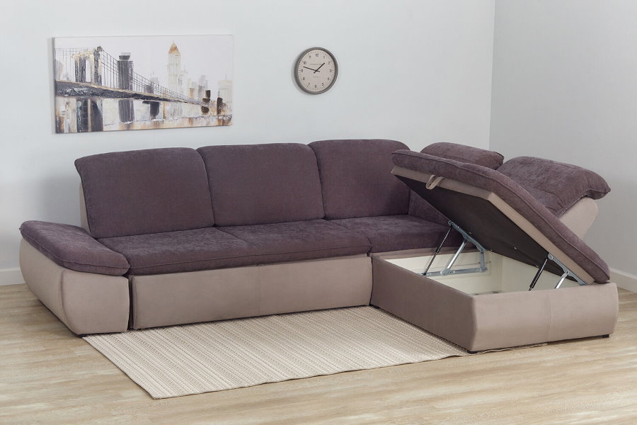Угловой диван с ящиком для вещей