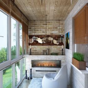 Био-камин в интерьере теплого балкона