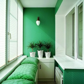 Окраска стен лоджии в зеленый цвет