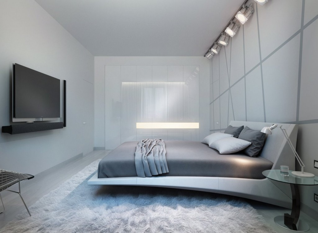 Прожектора под потолком спальной комнаты в стиле хай-тек