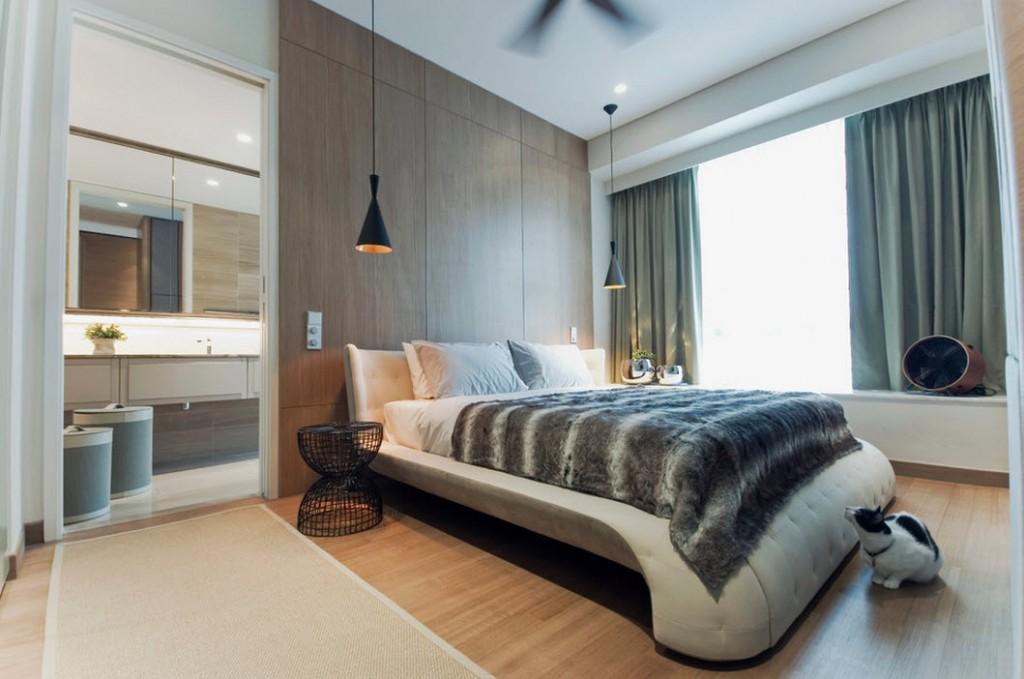 Оригинальная кровать в спальне стиля модерн